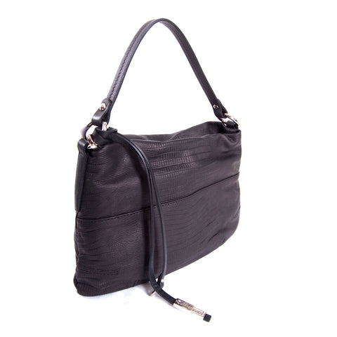 Black snake pattern leather shoulder bag