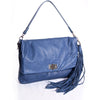 Blue snake pattern leather shoulder bag