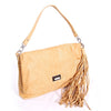 Sand snake pattern leather shoulder bag