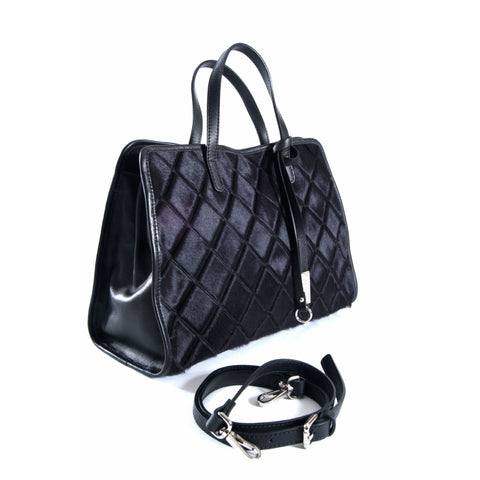 Black leather and blue quilted fur tote