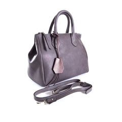 Italian bag, Leather tote women, Leather ladies Clutch, Italian dress shoes women, Stylish open toe boots, Formal leather sandals, Made in Italy outlet, Crystal belts women, Smoky grey saffiano leather top handle bag