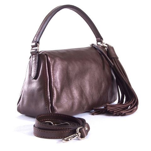 Metallic chestnut shoulder bag