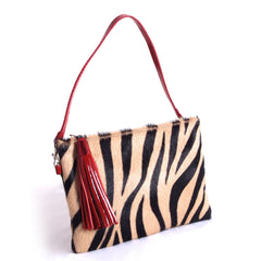 Italian bag, Leather tote women, Leather ladies Clutch, Italian dress shoes women, Stylish open toe boots, Formal leather sandals, Made in Italy outlet, Crystal belts women, Black/beige zebra print fur and red patent leather clutch