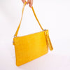 Yellow croco pattern Leather clutch