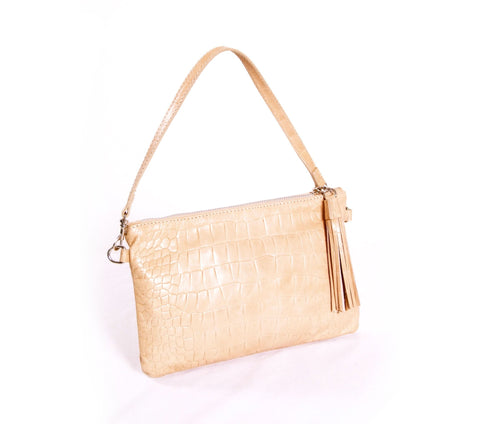 Sand croco pattern leather clutch