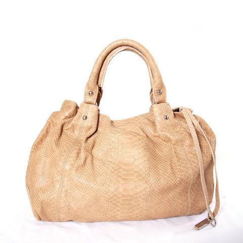 Beige snake pattern leather grab bag