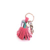 Pink leather with multicoloured cap keyring