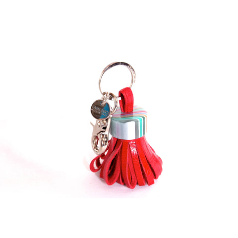 Red leather with multicoloured cap keyring