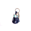 Blue leather with multicoloured cap keyring