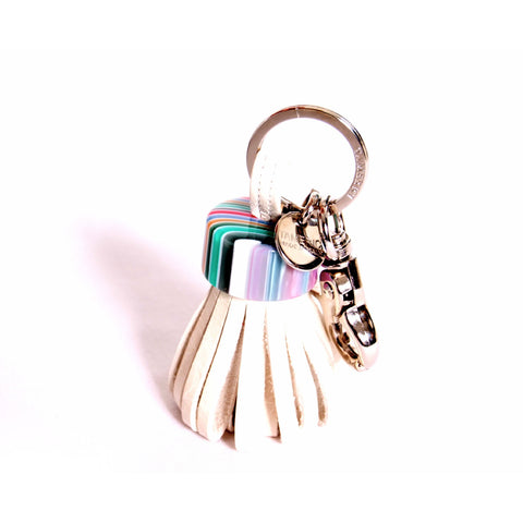 White leather with multicoloured cap keyring