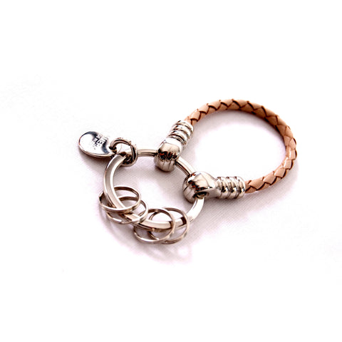 Beige leather scoubidoo keyring