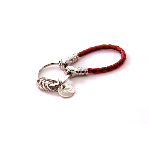 Red and brown leather scoubidoo keyring