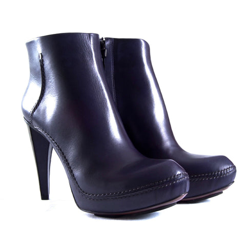 Navy blue leather ankle boots