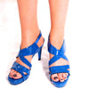 Patent cobalt blue leather sandals
