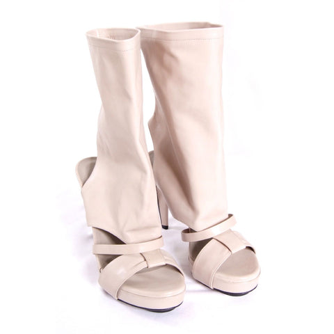 Light stone leather sandals/boots