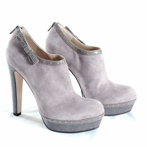 Light grey suede and snake textured leather booties
