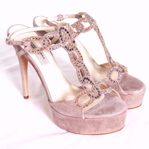 Beige/stone suede & 3 different colour Swarovski crystals shoes