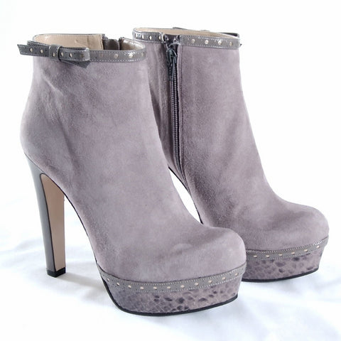 Light grey suede & snake effect ankle boots