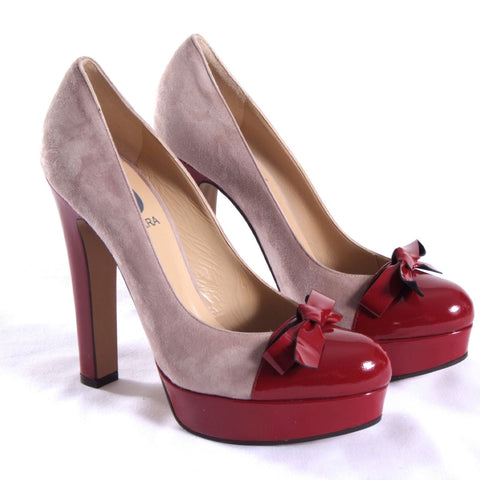 Creme suede & red patent leather platform shoes