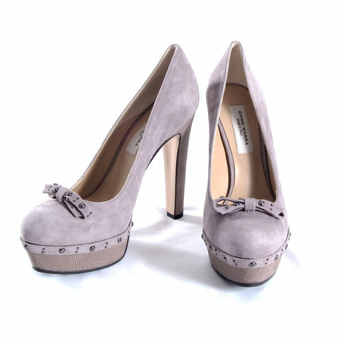 Light grey suede and snake textured leather platform shoes