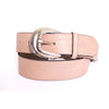 Sand colour leather belt with crystals