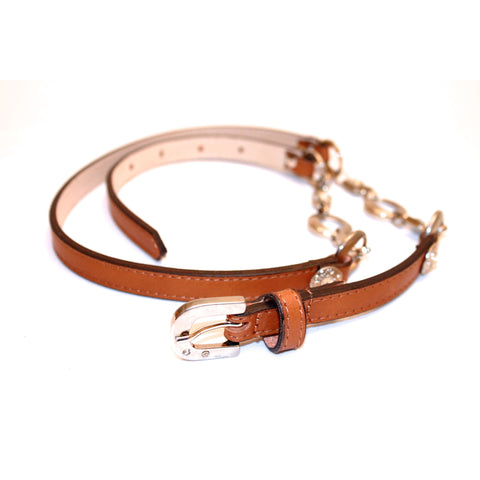 Tan leather skinny belt with crystals