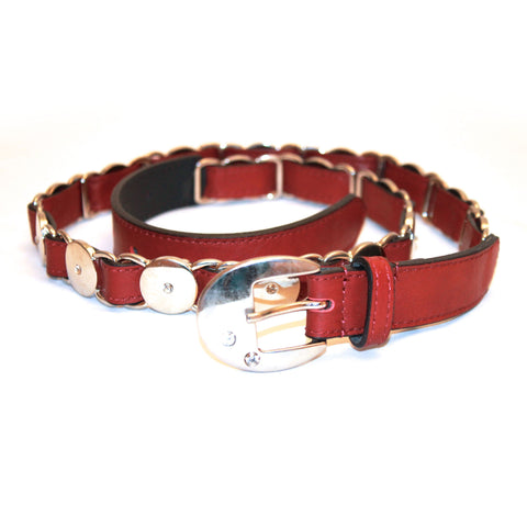 Red leather belt with crystals