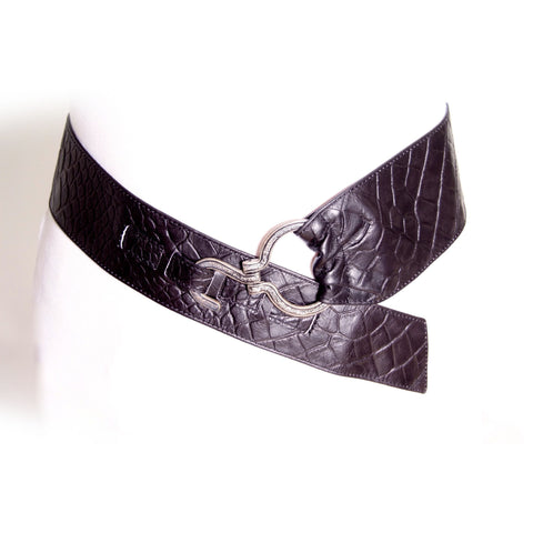 Black croco pattern leather belt