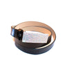 Black leather belt with multi-tone crystals buckle