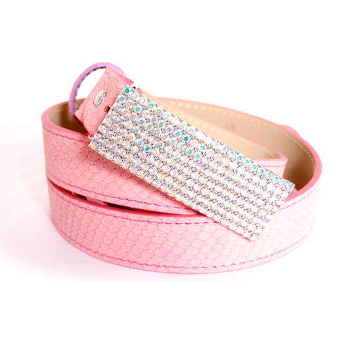 Pink snake pattern suede belt with multi-tone crystals buckle