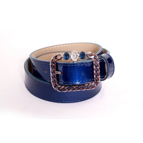 Royal blue patent leather belt with chain-like and crystals buckle