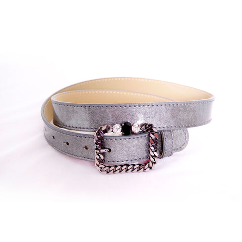 Silver patent leather belt with chain-like and crystals buckle