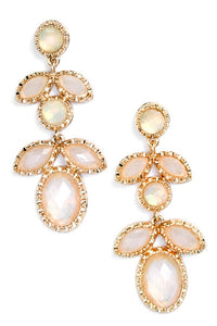 Doris White Opal Drop Earrings