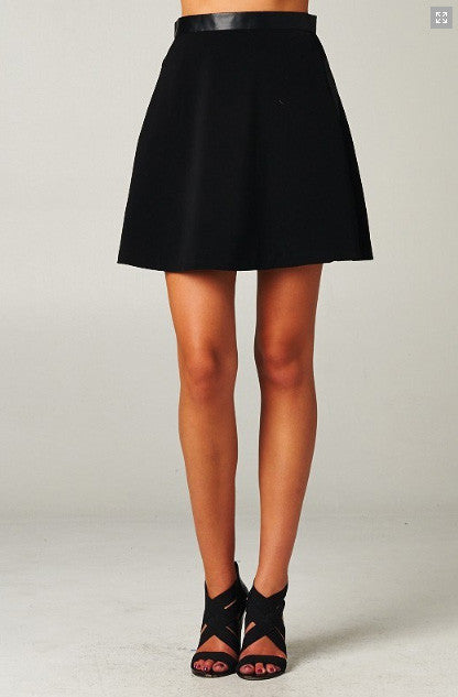 High Waisted Faux Leather Skirt