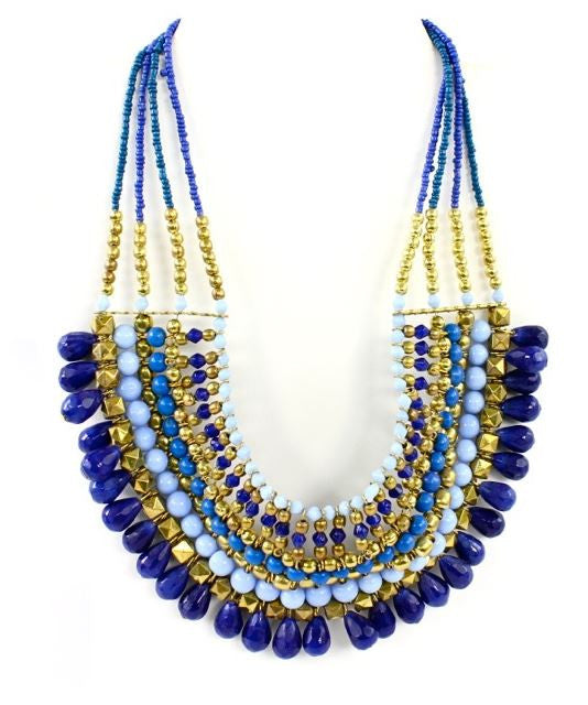 Priscilla Beaded Necklace in Blue