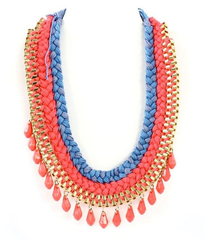 Leilani Braided Necklace in Coral