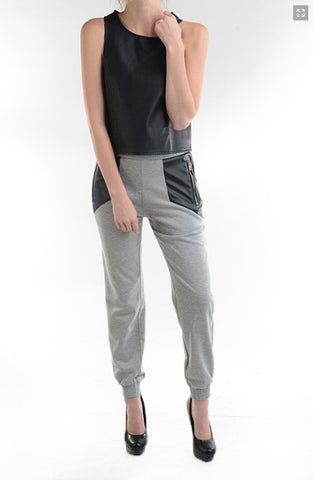 Faux Leather Sweatpants