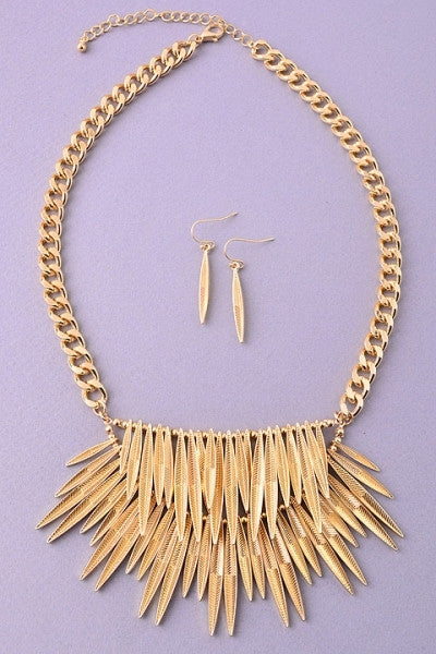 Gold Leaf Necklace & Earrings