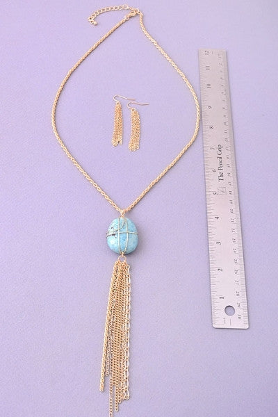 Turquoise Stone Necklace & Earrings