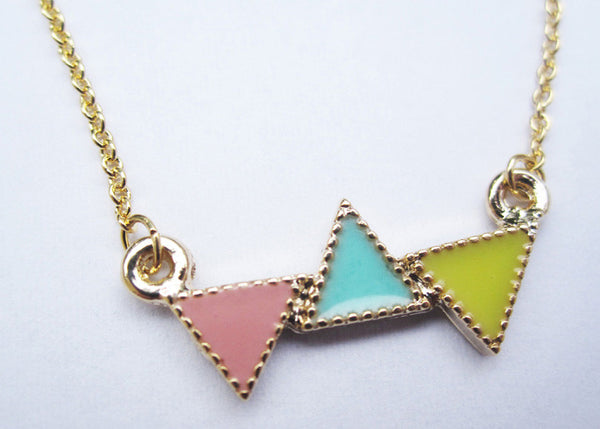 """Multi Color Triangles"" Necklace"