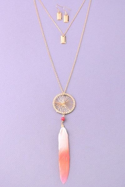 Dreamcatcher Layered Necklace & Earrings