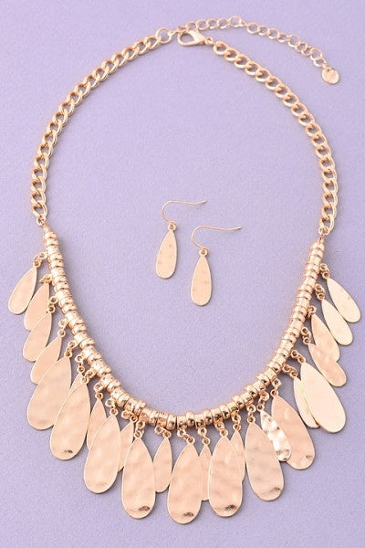 Gold Hammered Necklace & Earrings