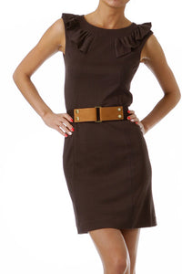 Brown belted dress