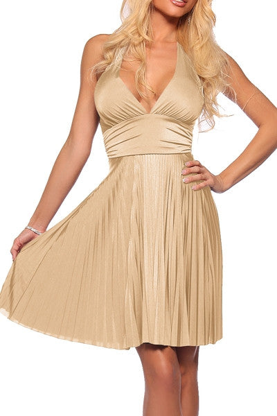 Gold cocktail halter dress