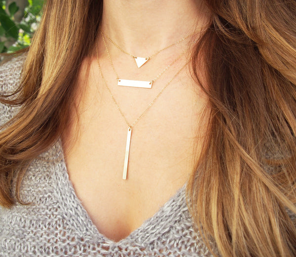 Long Gold Bar Necklace | Blank