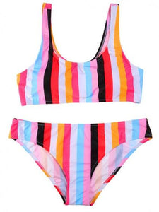 Polychrome Stripe Bikini Set