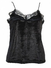 Load image into Gallery viewer, Black Velvet Spaghetti Strap Lace Panel Tank