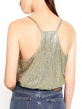 Laden Sie das Bild in den Galerie-Viewer, Green Spaghetti Strap Plunge Crop Tank