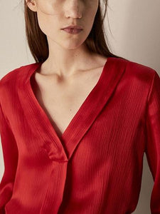 Red V-neck Tie Cuff Long Sleeve Blouse