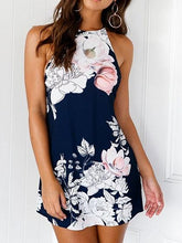 Load image into Gallery viewer, Dark Blue Halter Floral Print Open Back Mini Dress